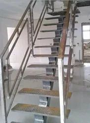 Straight Run Stairs Stainless Steel Staircase, For Home