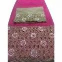 Pink Embroidered African George Fabric
