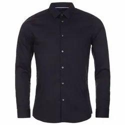 Mens Black Formal Cotton Plain Shirt