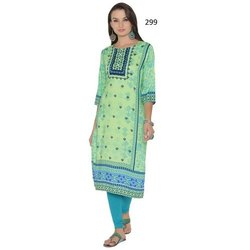 Silk Crepe Digital Print 3/4 Sleeve Kurti