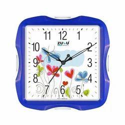 Analog White,Blue Square Wall Clock