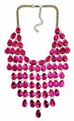 Kavita Fashions Party Wear Glass Stone Beaded Bib Necklace, Shape: Circle