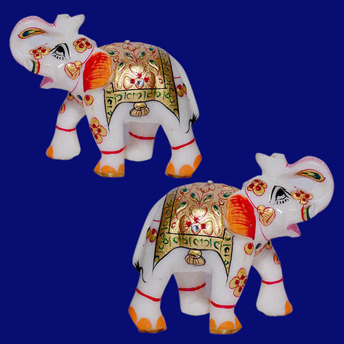 White Beautiful Marble Gold Painted Elephants, Size/Dimension: N / A , For Home Decor