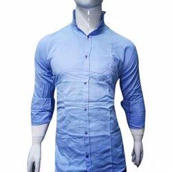 Blue Plain Mens Cotton Shirt