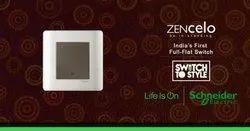 White Plastic Schneider Zencelo Switch
