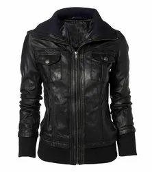 Black Full Sleeve Leather Jacket For Women, Size: Large