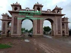 Big Temple Sandstone Gate , Red Stone Gate , Big Construction Gate