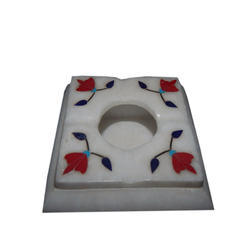 Marble Ashtray With Red Flower Design