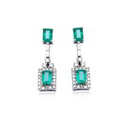 Green Emerald And Diamonds Hanging Gold Earrings