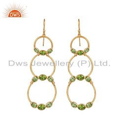 Gold Plated Silver Circle Design Peridot Gemstone Dangle Earrings