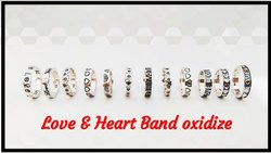 925 Silver Oxidize Love & Heart Band Ring