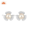 CZ Natural Pearl Gemstone Flower Design Sterling Silver Stud Earrings