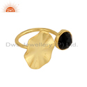 Wavy Disc Design Gold Plated Silver Black Onyx Gemstone Ring