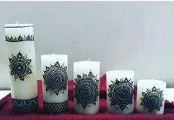 5 Set Mehndi Designer Pillar Candle