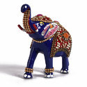 Metal Standing Elephant With Stone Meena Work