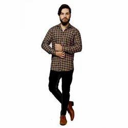 Cotton Orange Multi Checkered Casual Shirt