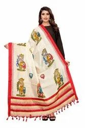 Khadi Cotton Silk Printed Dupatta With Tassels