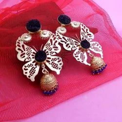 GOLD PLATED BUTTERFLY DESIGN EARRING