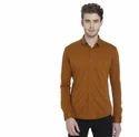 Button Down Plain Camel Full Sleeves Shirt