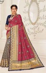 Pink Designer Cotton Silk Saree