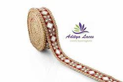 Designer Mirror Border Diamond Work Laces