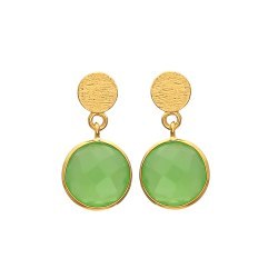 Sea Green Chalcedony Gold Stud Earring