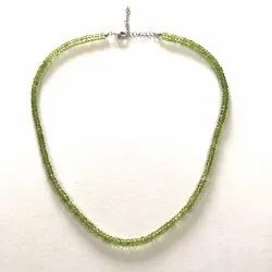 Natural Green Peridot Gemstone Beads Necklace with Silver Clasp