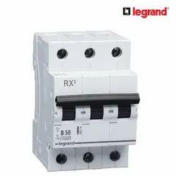 50 Hz Legrand RX3 50A Triple Pole MCB, Breaking Capacity: 10 K