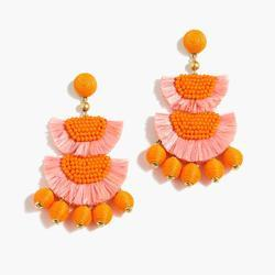 Orange Beaded Flowers Earrings