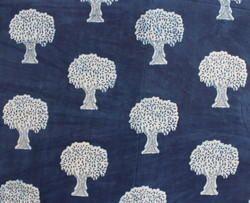 Khushi Handicraft Indian Tree Print Indigo Blue Cotton Batik Fabric, GSM: 50-100