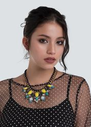 Stone-Studded Multi-Layered Necklace