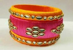 Yellow and Pink Silk Thread Bangle