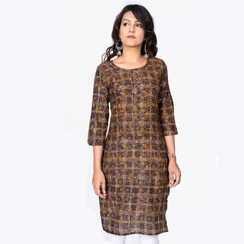 3/4th Sleeve Casual Wear Philauri Brown Basic Cotton Printed Straight Kurti