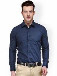 Blue Plain Mens Dark Formal Shirt