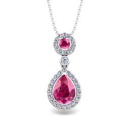 Pink Sapphire Drop Pendant