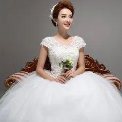 White Christian & Catholics Wedding Train Dress KD03T With Sleeves