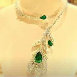 Emerald Gemstone Diamond Peacock Feather Necklace