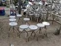 Chair Round Stainless Steel Furniture, Size: Standard