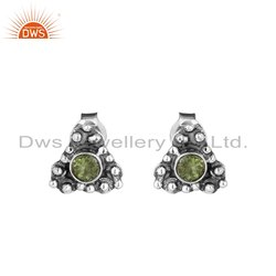 Peridot Gemstone Womens Oxidized 925 Sterling Silver Stud Earrings