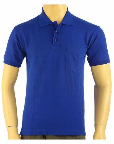 c9278374 Cotton Royal Blue Plain Color T- Shirts Hand Grip, Size: Small, Medium