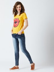 Ladies Yellow Cotton Printed T-Shirt