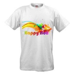 Round Half Sleeve Holi Polyester Printed T shirt