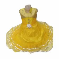 Yellow Kids Designer Net Cotton Frock, 4-10 Years, Size: 22-32
