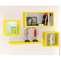 Furniture Cafe Yellow Wall Mounted Shelves, For Home