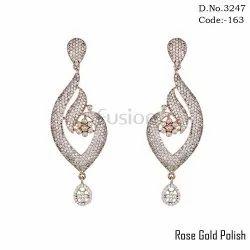 Fusion Designer American Diamond Rose Gold Earrings