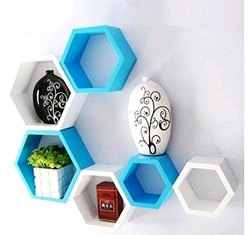 White and Blue MDF Wall Shelves for Home
