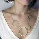 Fashion Gold Plated Geometrical Pattern Long Statement Necklace