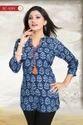Prime Plush Rayon Cotton Blue Short Kurta with PomPom