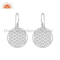 Plain Silver White Rhodium Plated Filigree Designer Earrings