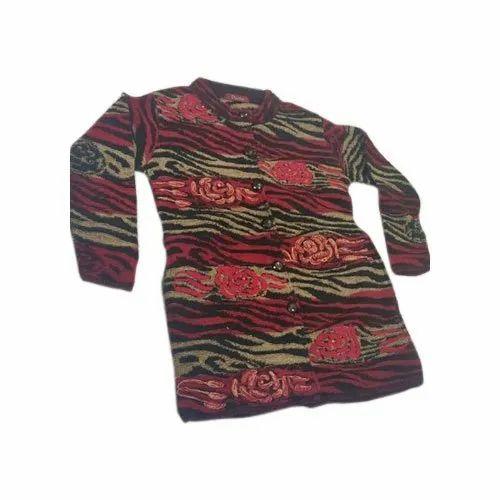 Woolen Full Sleeves Ladies Printed Long Coat